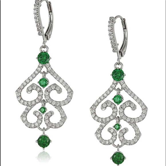 Rhodium-plated sterling silver cz earrings